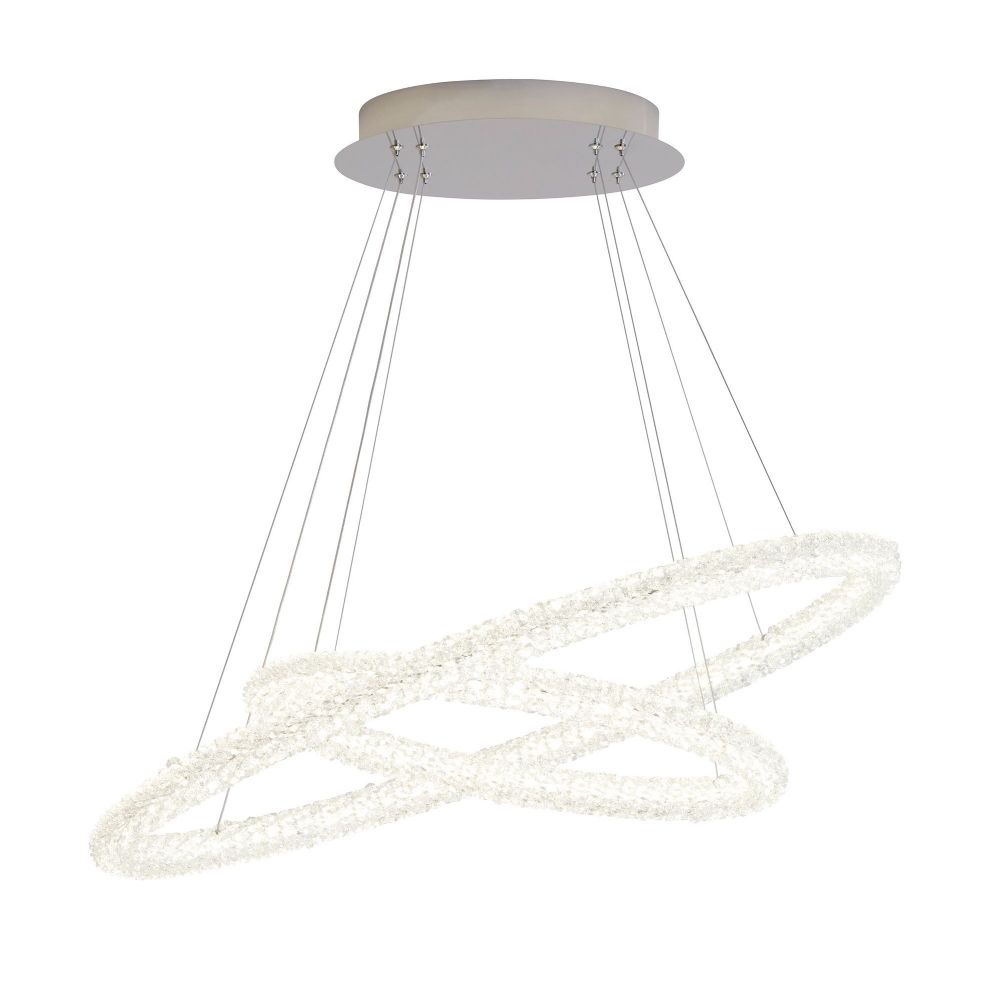 Circle Led 2 Oval Ring Ceiling Pendant, Chrome, Clear Crystal (Double Insulated) Bx42610-2Cc-17